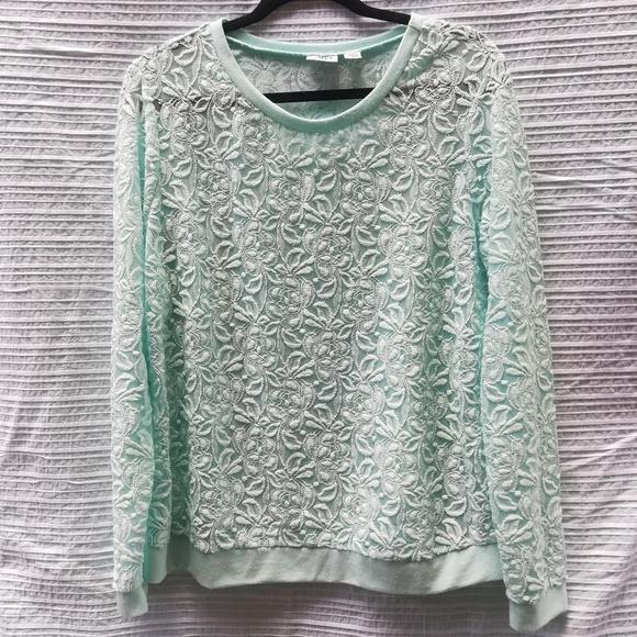bb8dc86c8b Cato Mint Green Lace Semi Sheer Long Sleeve Top